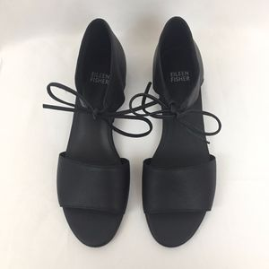 Eileen Fisher  |  Black Ely Leather Sandal, sz 7.5